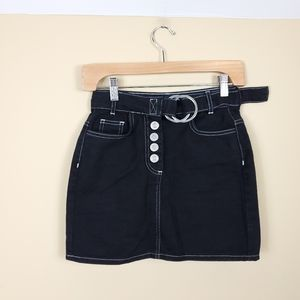 4/$25 BDG Denim Mini Skirt With Ring Closure